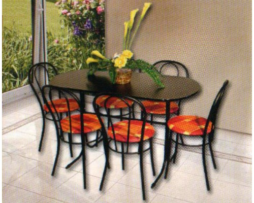 Csővázas asztal és 6 szék